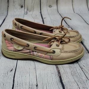 Sperry Angelfish Pink Plaid Sequin Boat Shoes